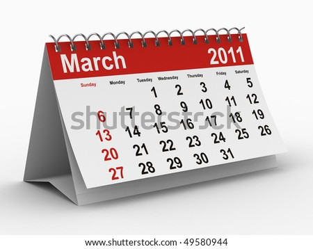 2011 year calendar. March. Isolated 3D image