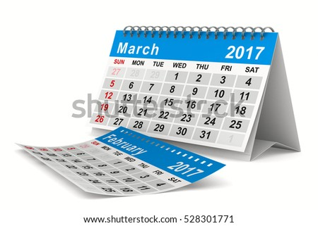 2017 year calendar. March. Isolated 3D image
