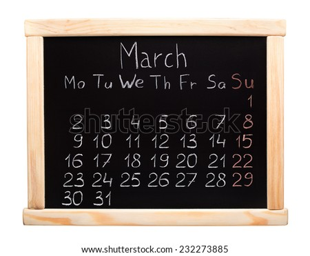 2015 year calendar. March. Week start on monday