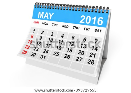 2016 year calendar. May calendar on a white background