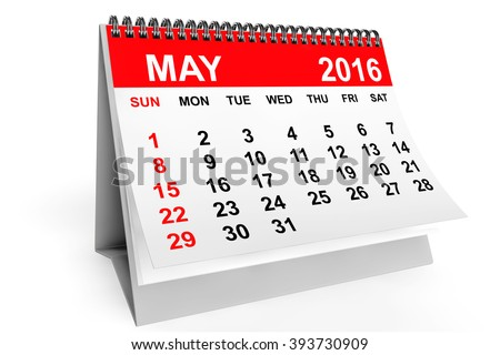 2016 year calendar. May calendar on a white background - stock photo