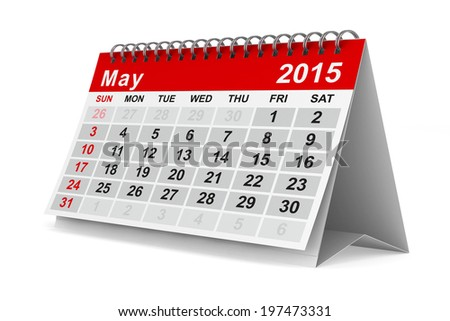 2015 year calendar. May. Isolated 3D image - stock photo