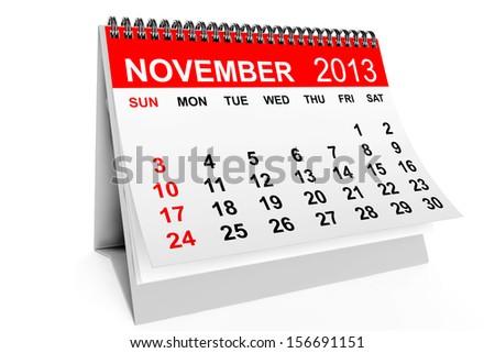 2013 year calendar. November calendar on a white background  - stock photo
