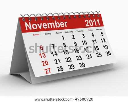 2011 year calendar. November. Isolated 3D image