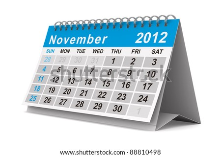 2012 year calendar. November. Isolated 3D image - stock photo