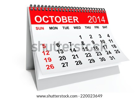 2014 year calendar. October calendar on a white background