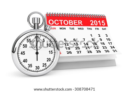 2015 year calendar. October calendar with stopwatch on a white background  - stock photo