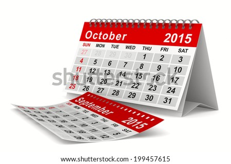 2015 year calendar. October. Isolated 3D image
