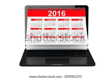 2016 year calendar over laptop screen on a white background