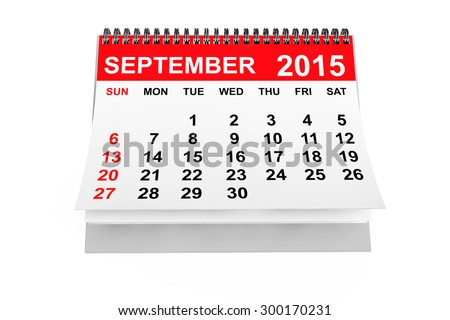2015 year calendar. September calendar on a white background  - stock photo