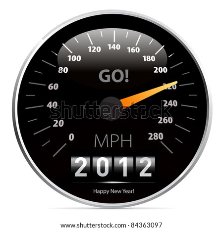 2012 year Calendar speedometer car - stock photo