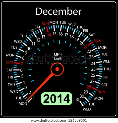 2014 year calendar speedometer car in illustration. December. - stock photo