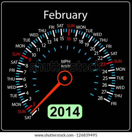 2014 year calendar speedometer car in illustration. February. - stock photo
