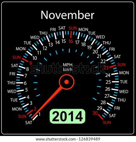 2014 year calendar speedometer car in illustration. November. - stock photo
