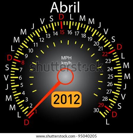 2012 year calendar speedometer car in Spanish. April. Vector version also available in portfolio. - stock photo