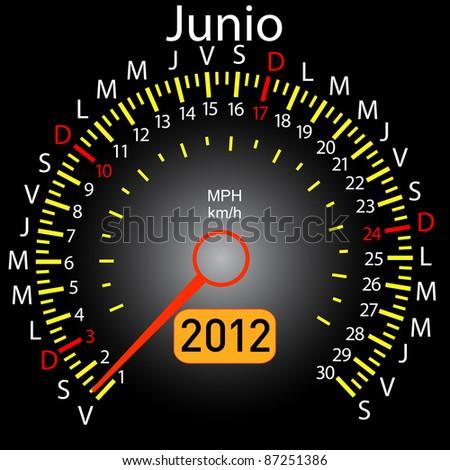 2012 year calendar speedometer car in Spanish. June - stock photo