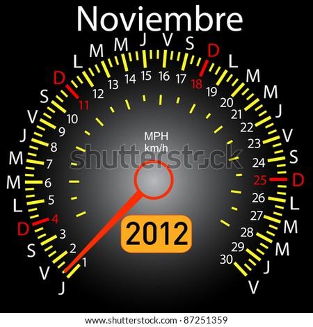 2012 year calendar speedometer car in Spanish. November - stock photo