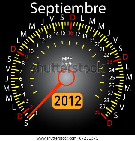 2012 year calendar speedometer car in Spanish. September - stock photo