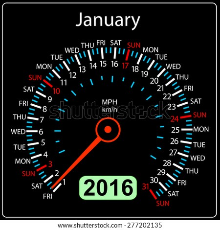 2016 year calendar speedometer car. January.  illustration. - stock photo