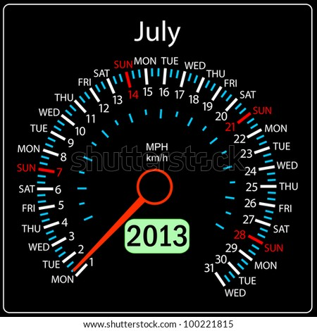 2013 year calendar speedometer car. July. - stock photo