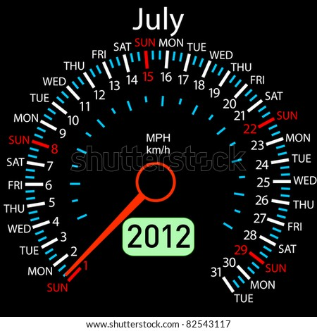 2012 year Calendar speedometer car. July. - stock photo
