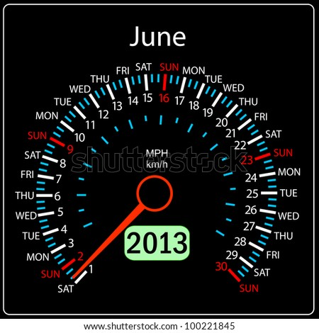 2013 year calendar speedometer car. June. - stock photo