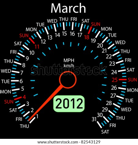 2012 year Calendar speedometer car . March. - stock photo