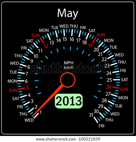 2013 year calendar speedometer car. May. - stock photo