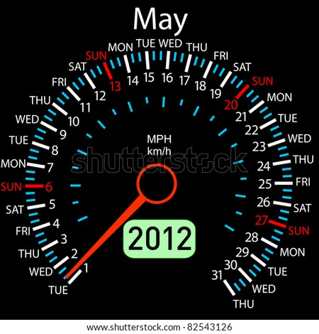 2012 year Calendar speedometer car . May. - stock photo