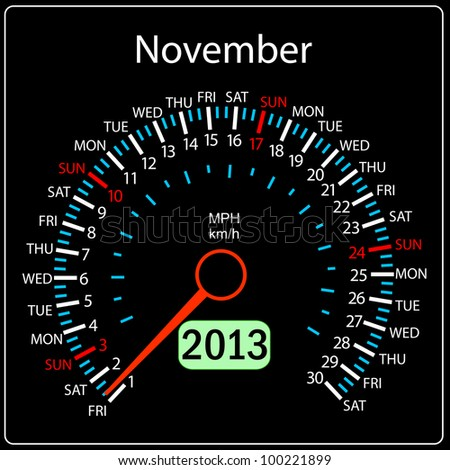 2013 year calendar speedometer car. November. - stock photo