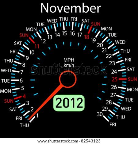 2012 year Calendar speedometer car . November. - stock photo