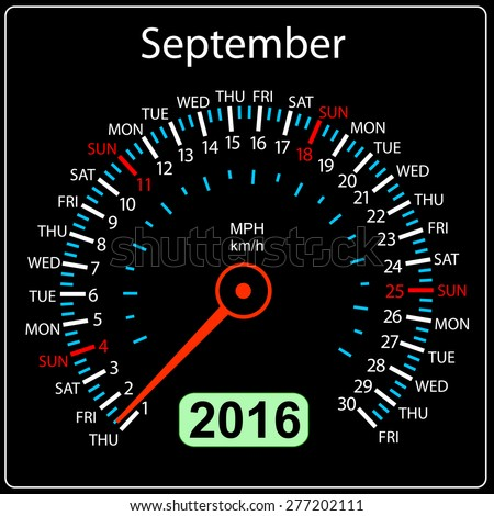 2016 year calendar speedometer car. September.  illustration. - stock photo