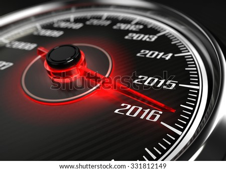 2016 year car speedometer concept - stock photo