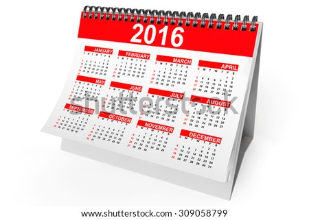 2016 year desktop calendar on a white background