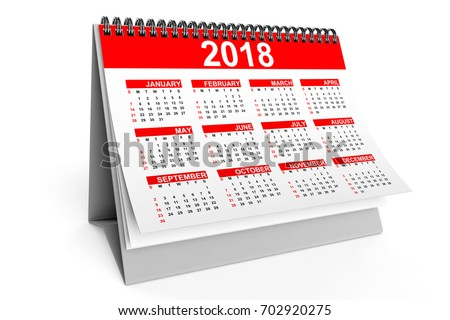 2018 Year Desktop Calendar on a white background. 3d Rendering