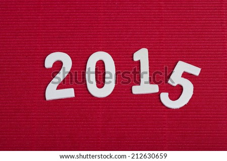 2015 year figures on red background, Happy New Year 2015