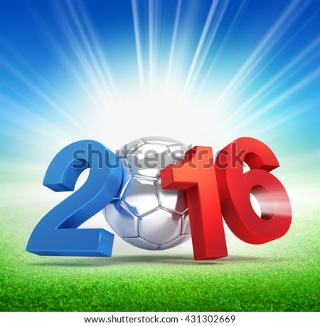 2016 year French flag colored, illustrated with a silver soccer ball and illuminated on a grass field - 3D illustration - stock photo