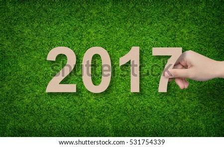 2016 Year - Hand holding paper cut of alphabet number on green grass background.