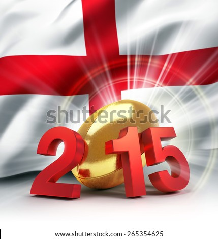 2015 year illustrated with a golden rugby ball, a waving English flag behind - stock photo