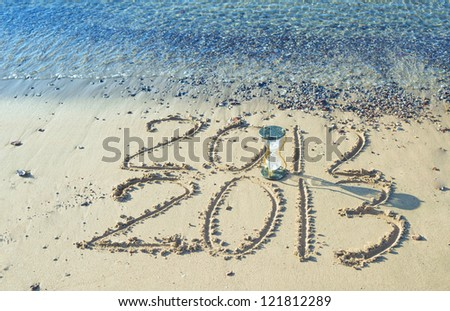 2013 year is coming on the beach of Eilat, Israel - stock photo