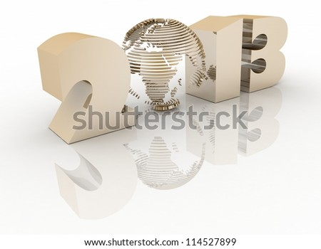 2013 year. Isolated 3D image - stock photo