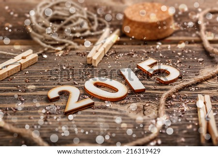 2015 year made of wood on rustic background - stock photo