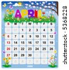 2008 Year Monthly calendar April - stock photo