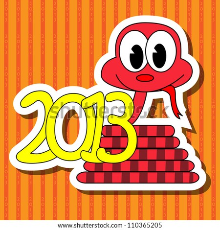2013 year of the snake with red background - stock photo