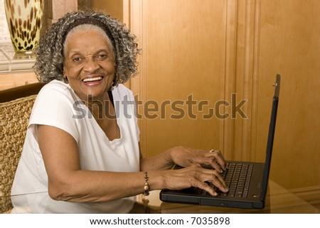 Happy Mature Black Woman Sitting Wheelchair Stock Photo