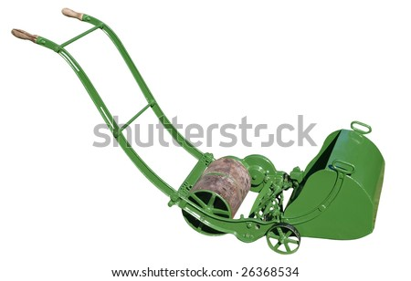 100 Year Old American Antique Lawnmower isolated with clipping path - stock photo