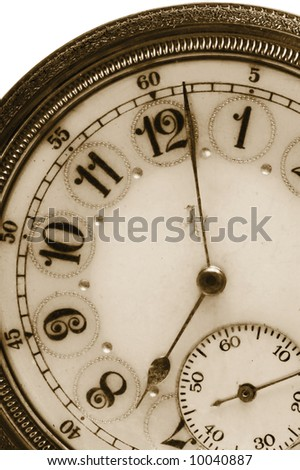100 Year old antique pocket watch in Sepia Color