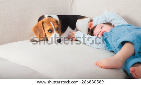 1 year old baby boy playing with his beagle pet dog. - stock photo