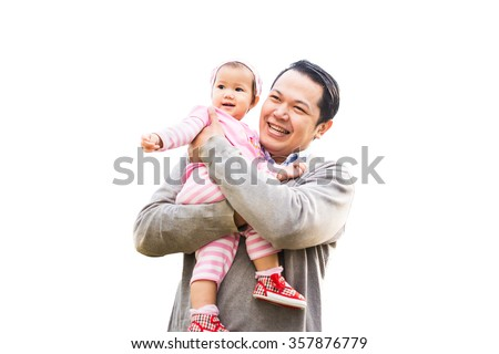 1 year old baby smile with her father.An emotional portrait of happy people. White background picture.