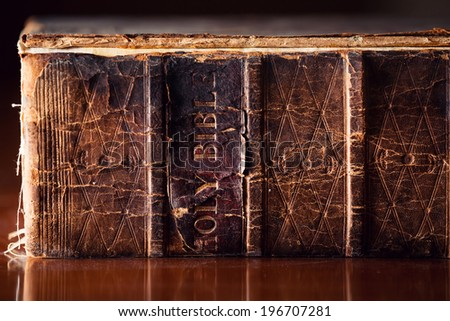 150 year old Bible close up  - stock photo